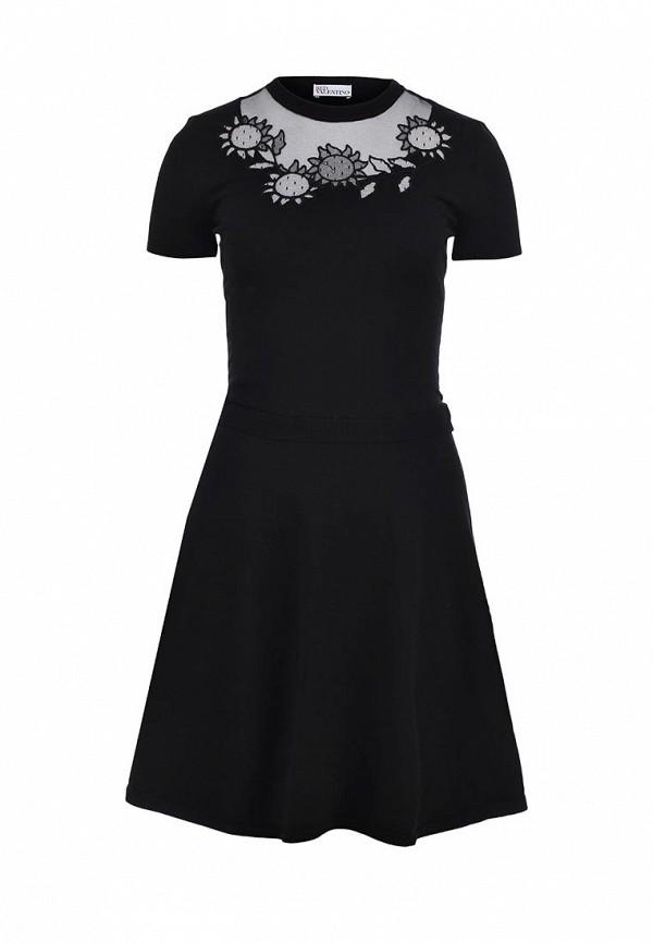 Черное платье valentino с белыми манжетами