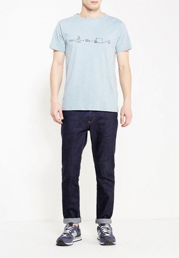 Фото 2 - мужскую футболку Rip Curl голубого цвета