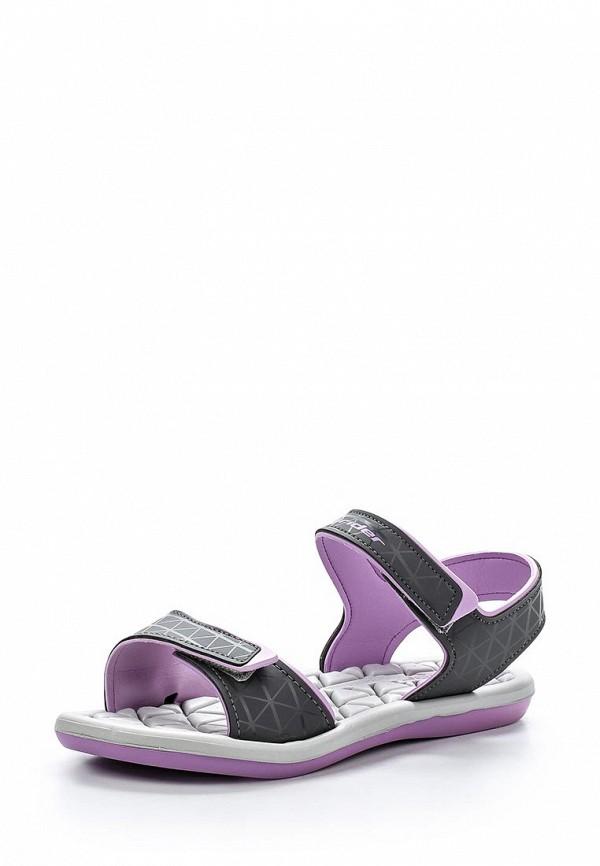 Женские серые фиолетовые кожаные сандалии
