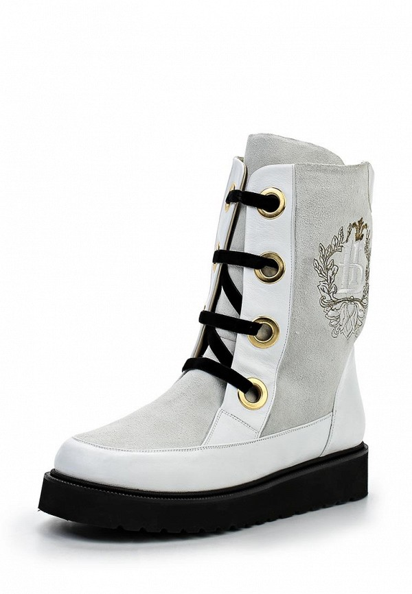 Женские белые итальянские кожаные ботинки на платформе