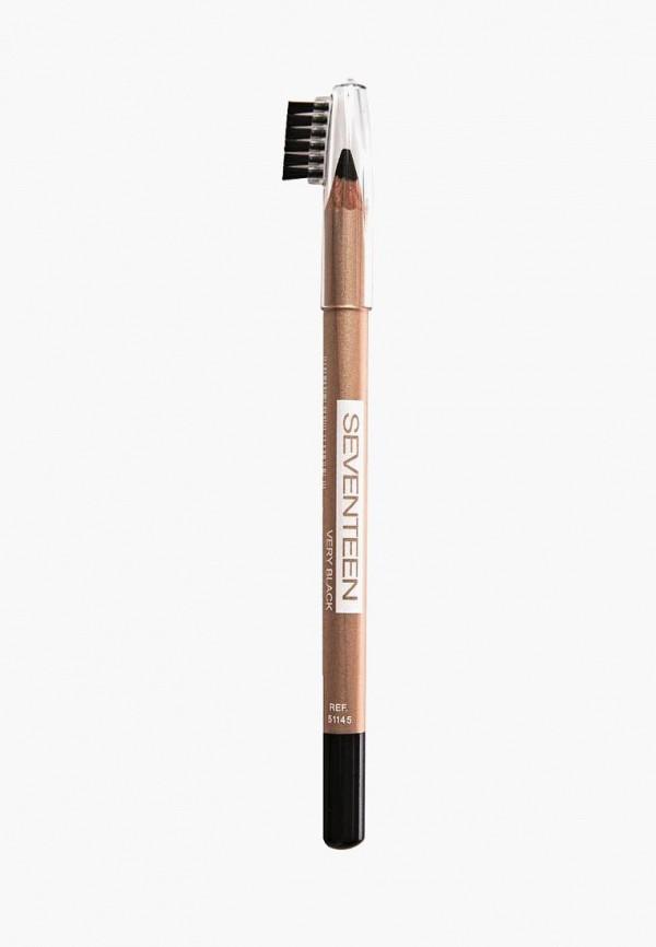 Купить Карандаш для бровей Seventeen, с щеточкой, т.04 LONGSTAY EYE BROW SHAPER чёрный, SE039LWUWY26, коричневый, Весна-лето 2018