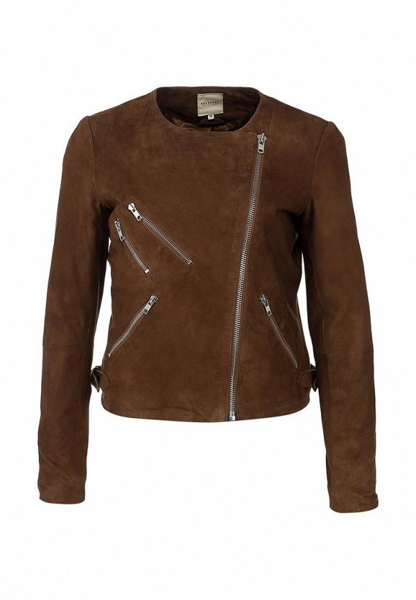 Куртка кожаная Selected Femme SE781EWAUM54. Цвет: коричневый