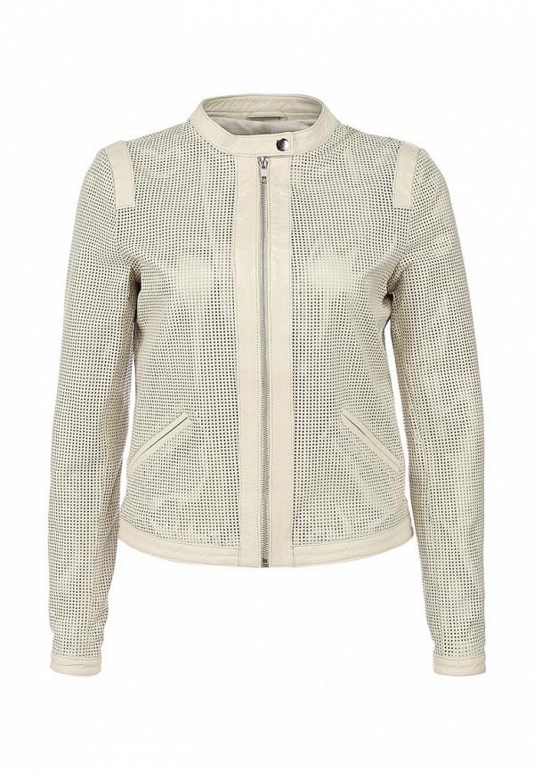 Куртка кожаная Selected Femme SE781EWAUM55. Цвет: бежевый