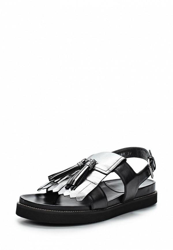 Женские черные испанские серебряные кожаные сандалии