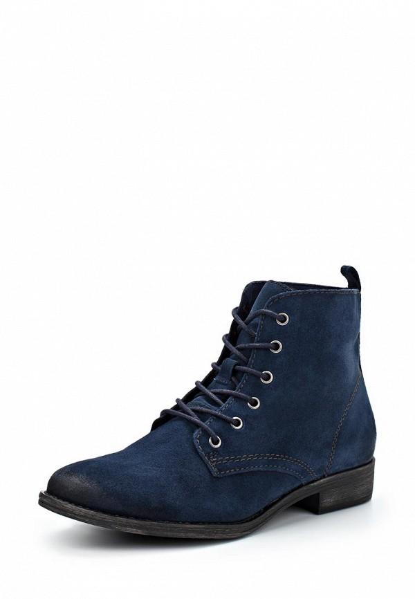 Женские синие осенние ботинки на каблуке