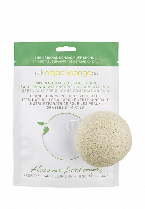 Спонж The Konjac Sponge Co для умывания лица Facial Puff Konjac Sponge Green Clay