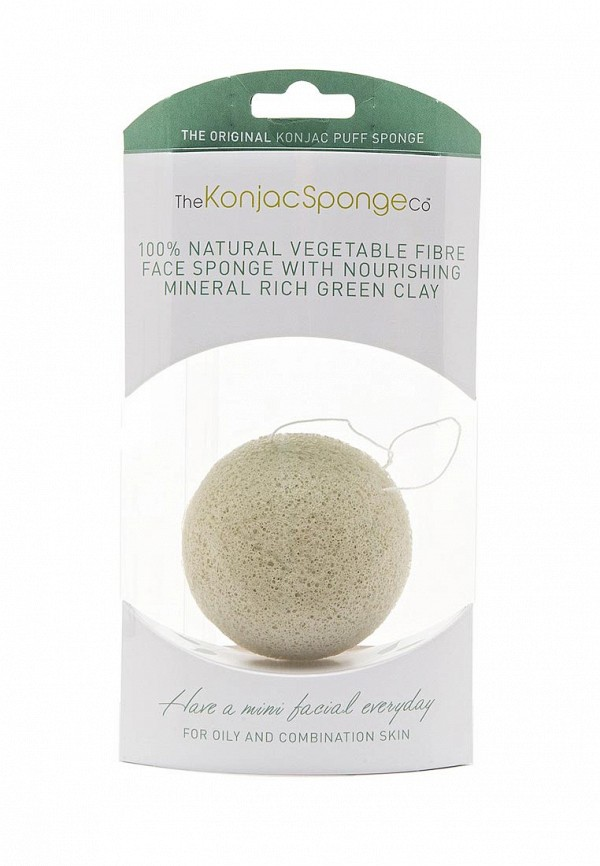 Спонж The Konjac Sponge Co для умывания лица Premium Facial Puff with French Green Clay (премиум-упаковка)