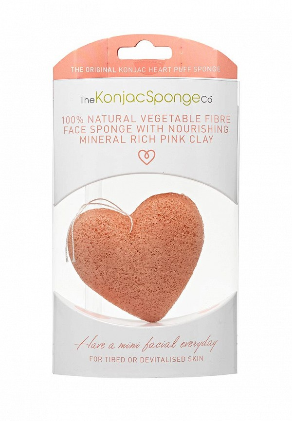 Спонж The Konjac Sponge Co для умывания лица Premium Heart Puff with French Pink Clay (премиум-упаковка)