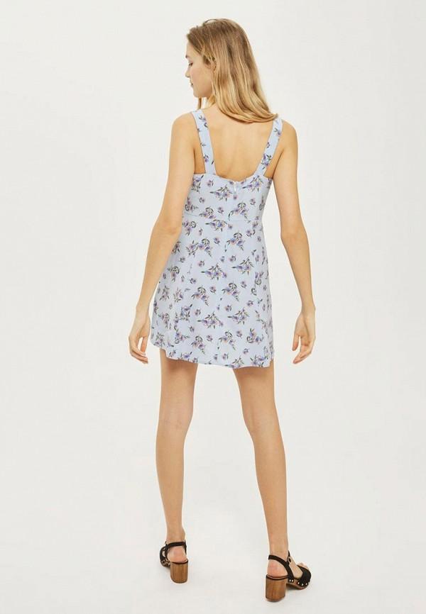 Фото 2 - женское летнее платье Topshop голубого цвета