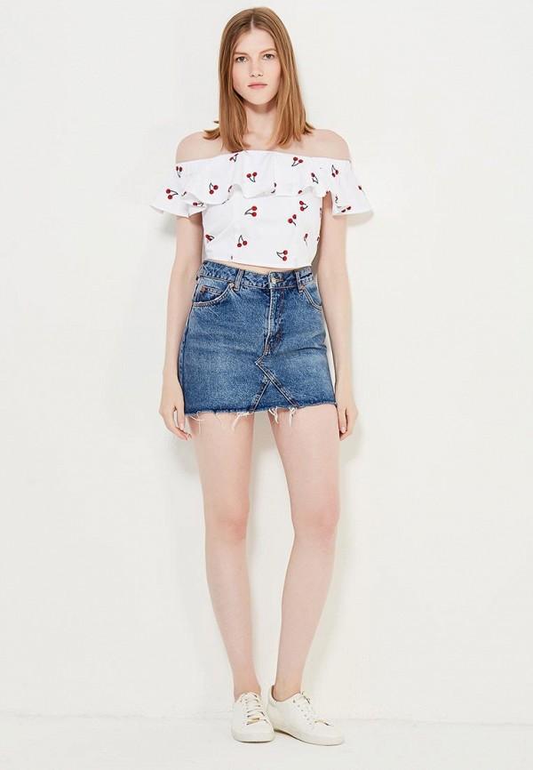 Фото 2 - женскую блузку Topshop белого цвета