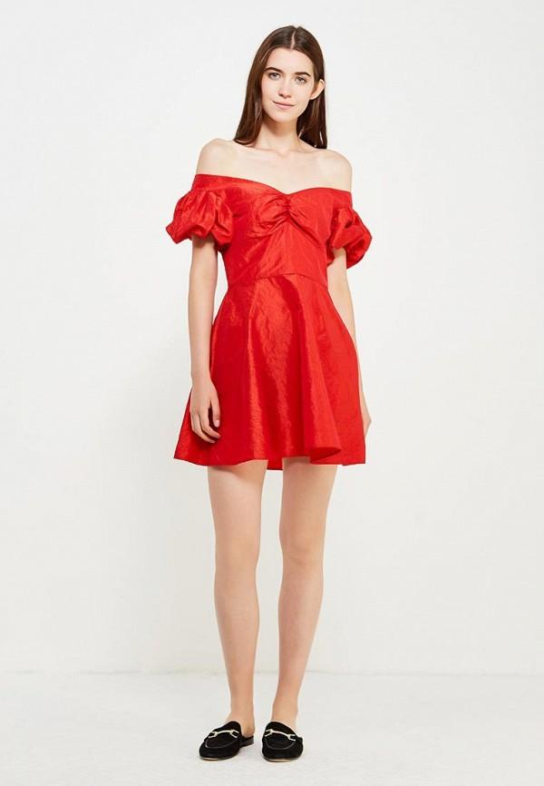 Фото 2 - женское платье Topshop красного цвета