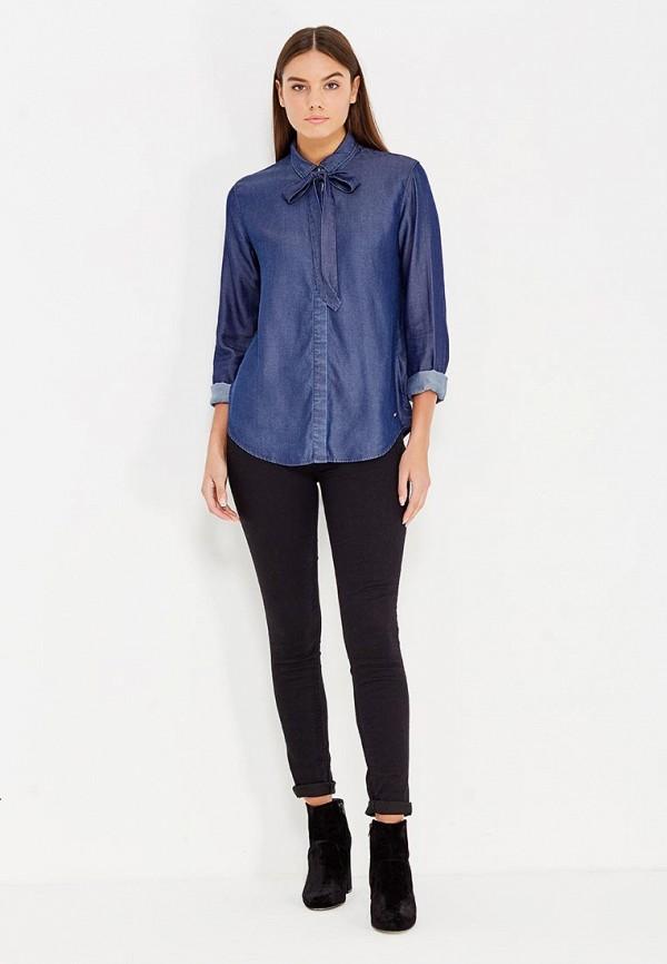 Фото 2 - женскую рубашку Tommy Hilfiger синего цвета
