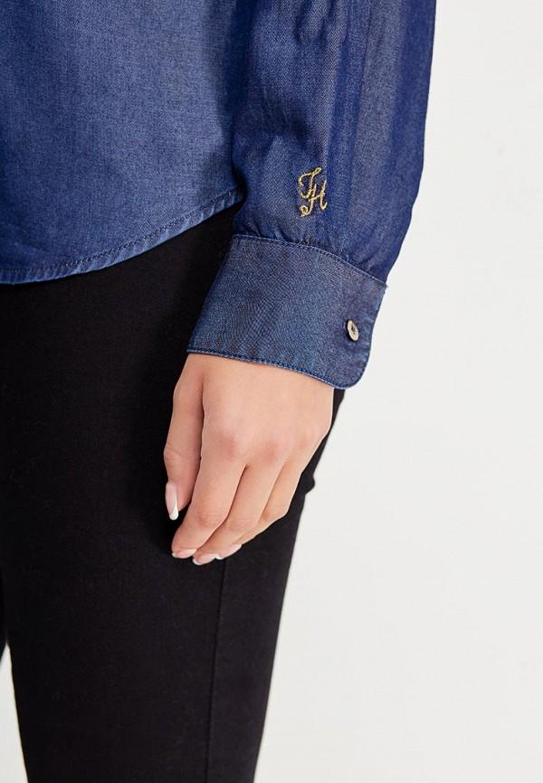 Фото 4 - женскую рубашку Tommy Hilfiger синего цвета
