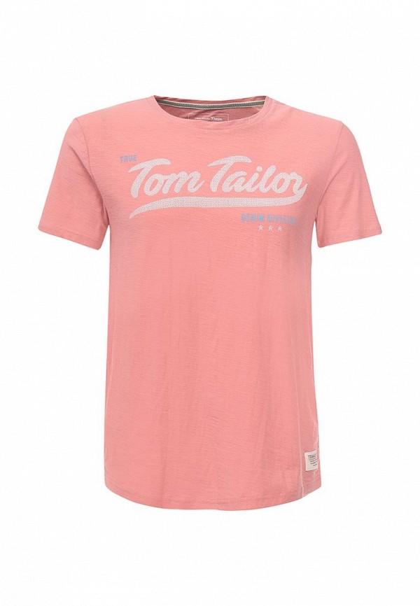 Футболка Tom Tailor Denim. Цвет: розовый
