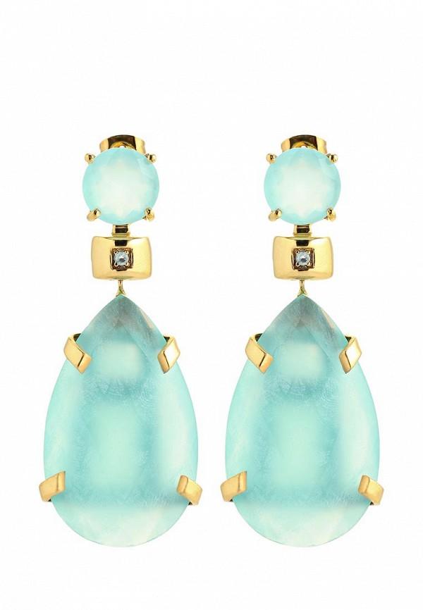 Серьги Trisori. Цвет: голубой, золотой