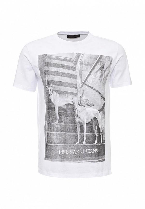 Купить мужскую футболку Trussardi Jeans белого цвета