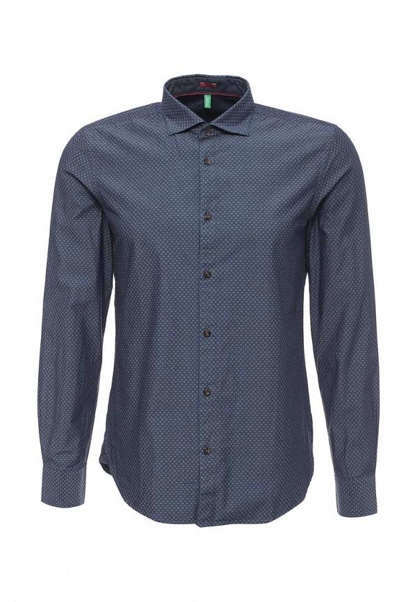 Купить мужскую рубашку United Colors of Benetton синего цвета