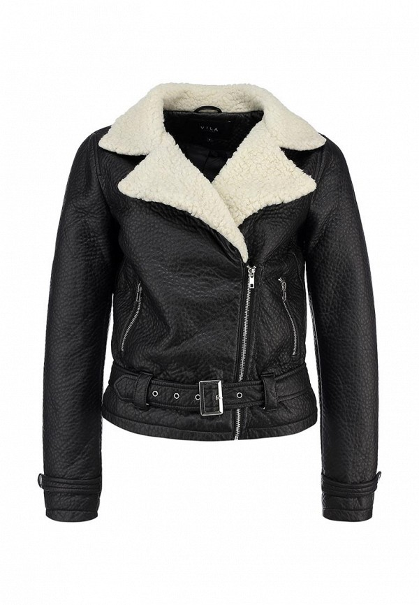Куртка кожаная Vila VI004EWBWD49. Цвет: черный