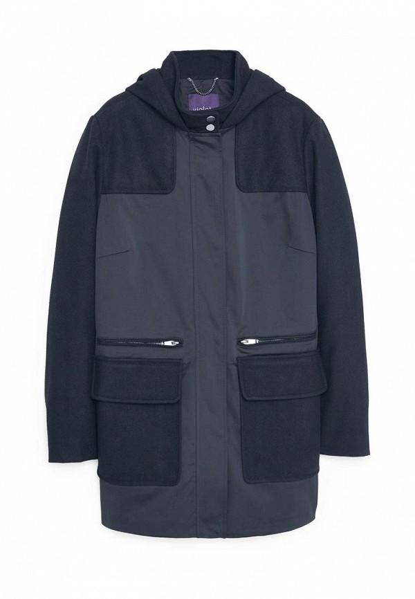 Женское серое черное осеннее пальто