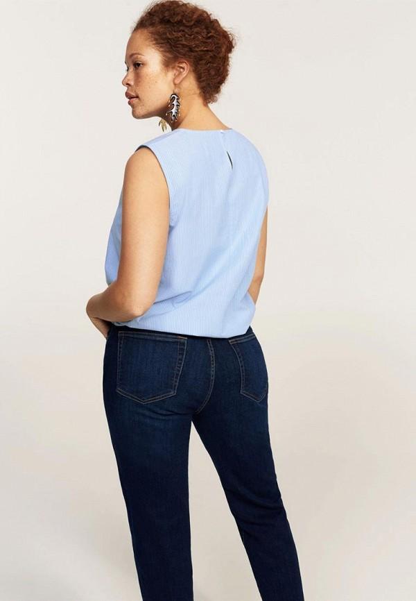 Фото 2 - женский топ Violeta by Mango голубого цвета