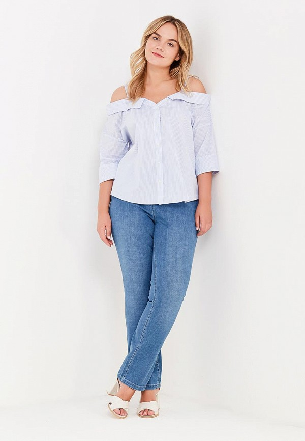 Фото 2 - женскую блузку Violeta by Mango голубого цвета