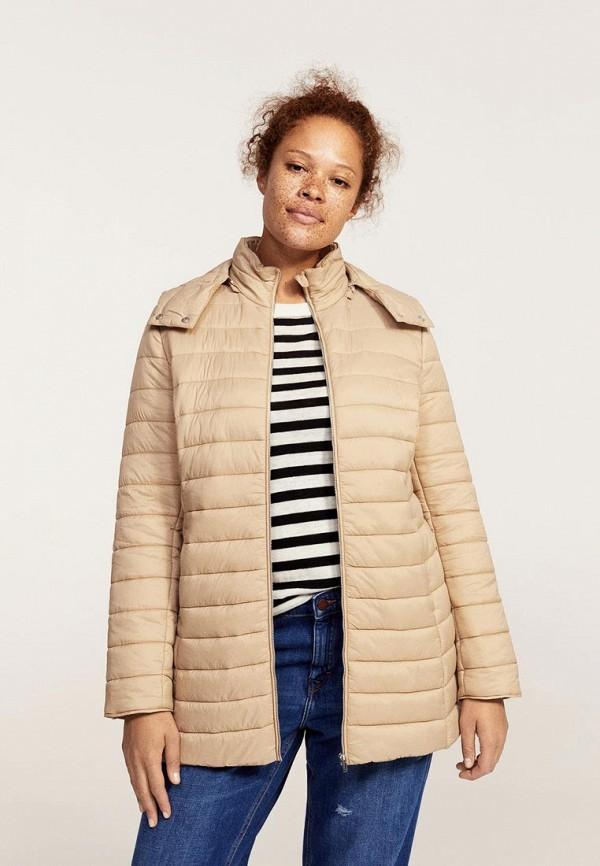 Фото - Куртку утепленная Violeta by Mango бежевого цвета