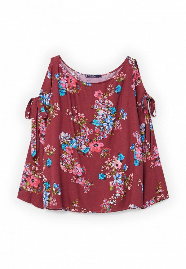 Фото 4 - женскую блузку Violeta by Mango бордового цвета