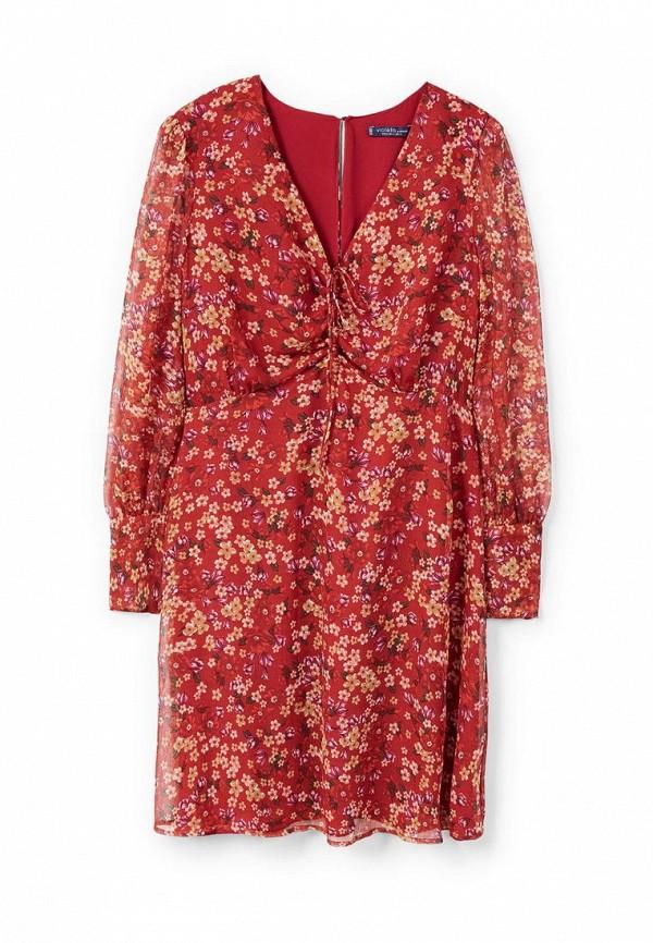 Фото 3 - женское платье Violeta by Mango бордового цвета
