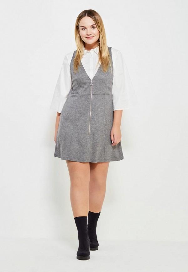 Фото 2 - женское платье Violeta by Mango серого цвета