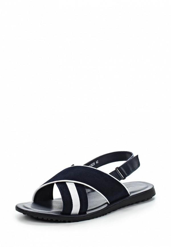 Мужские белые синие кожаные сандалии