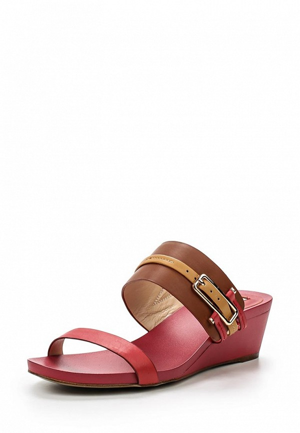 Женские коричневые кожаные сабо на каблуке