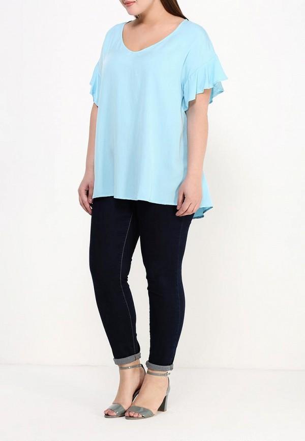 Фото 2 - женскую блузку Zizzi голубого цвета