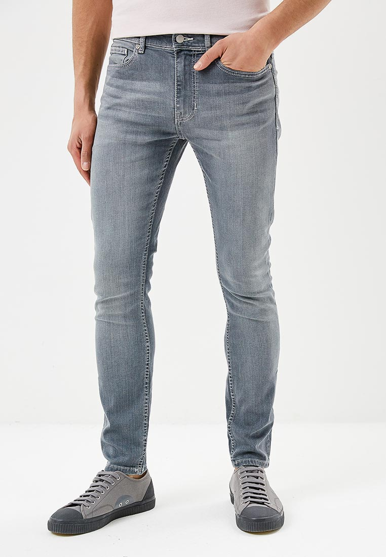 Зауженные джинсы Burton Menswear London 12K01MGRY