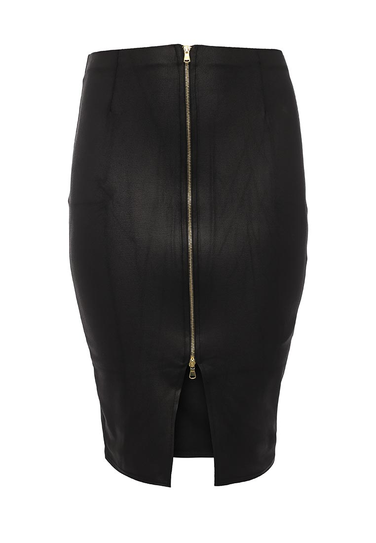 Миди-юбка Lost Ink Curve PENCIL SKIRT WITH PU & ZIP