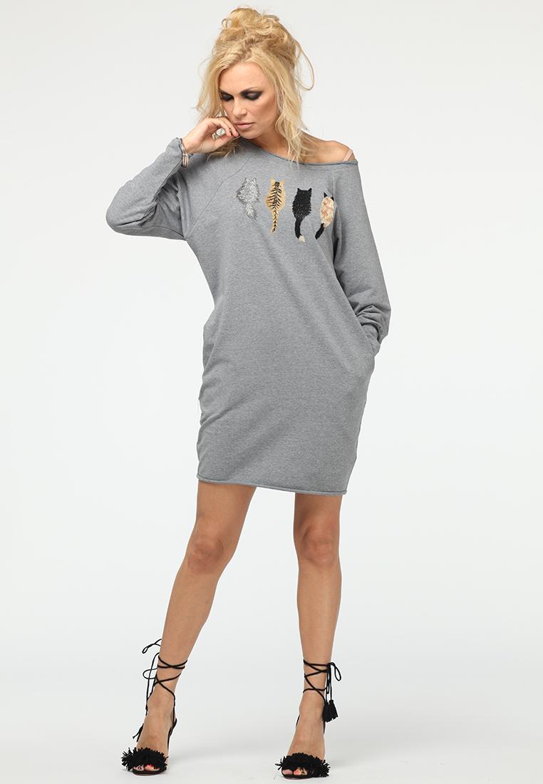 Вязаное платье KATA BINSKA ARLI2110-серый-44-46