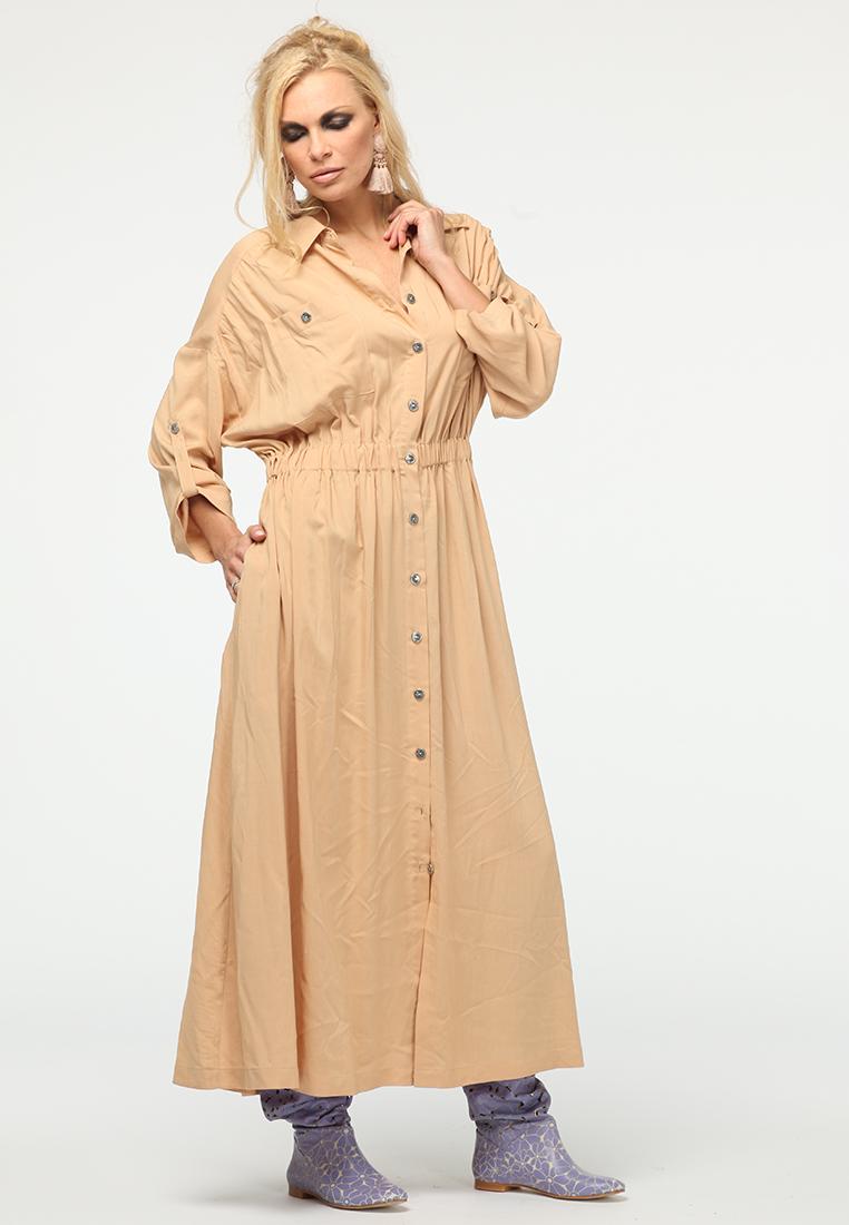 Повседневное платье KATA BINSKA ALITA8741-бежевый-44-48