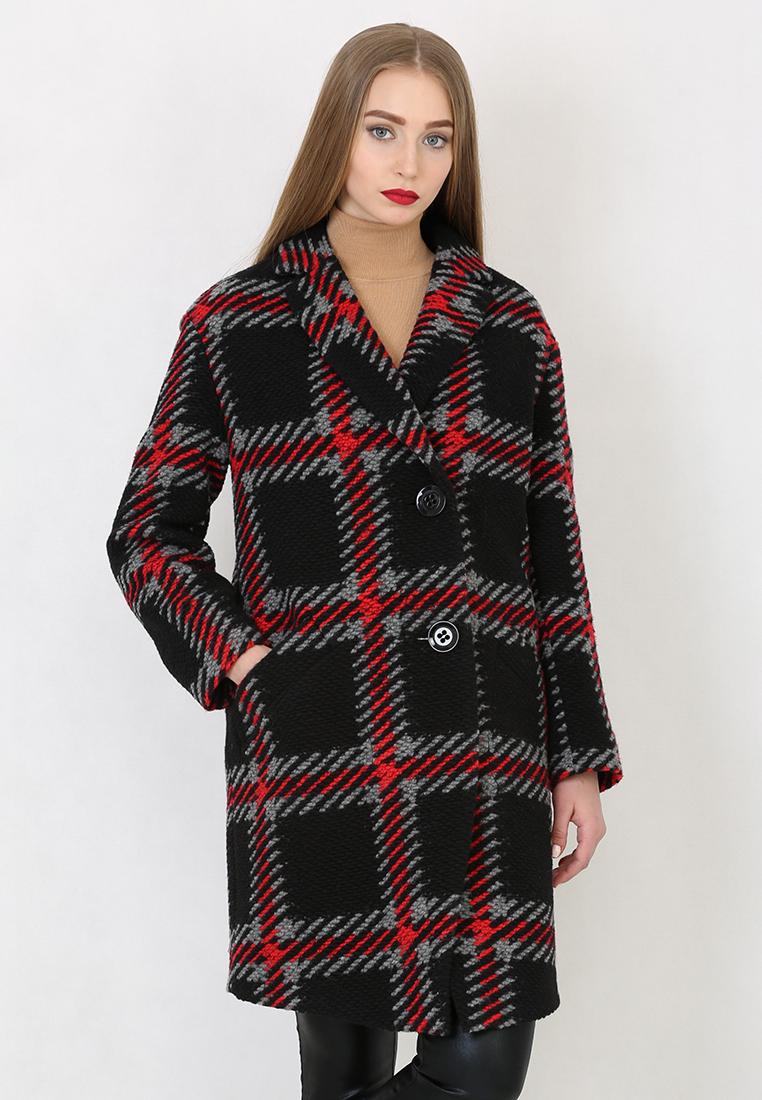 Женские пальто Trifo 7740-Черно-красная клетка-42/170