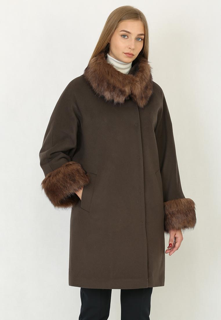 Женские пальто Trifo 7414з-Коричневый-42/164