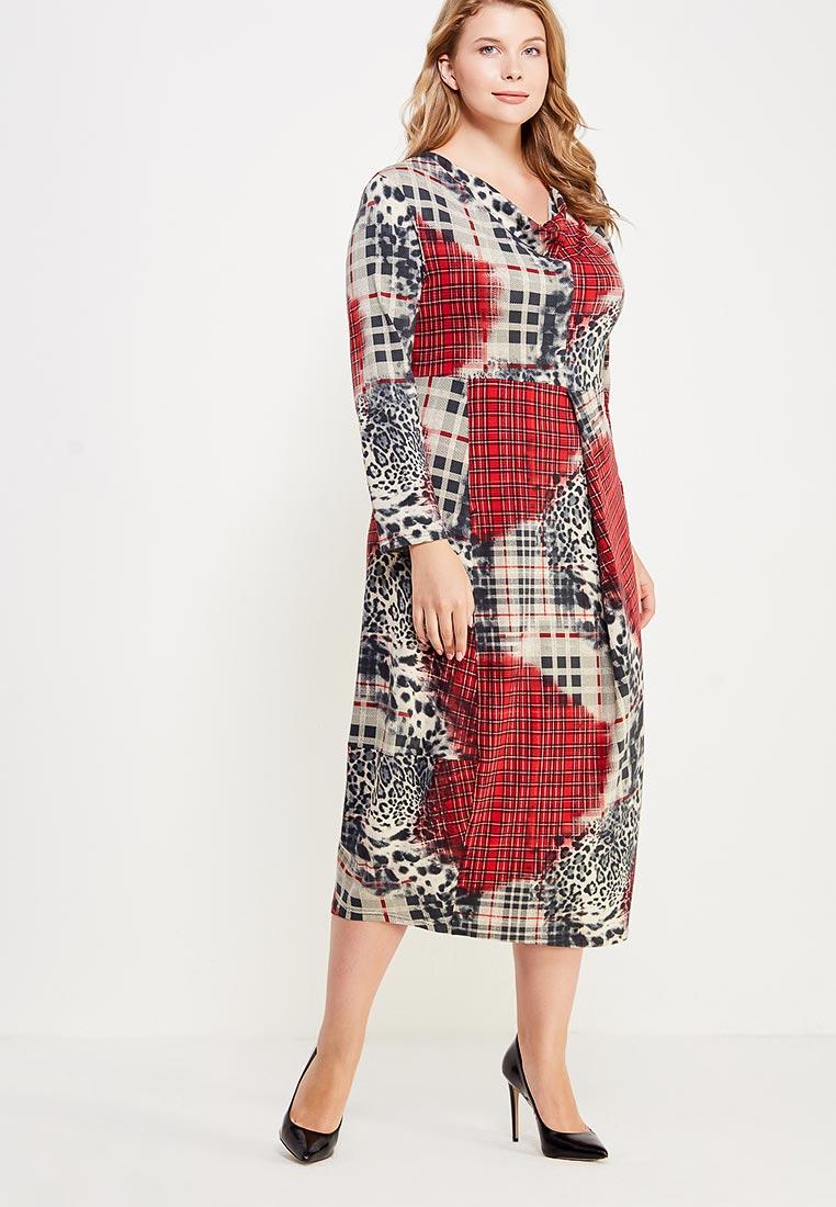 Платье-миди Larro 1025-красн.сер-1