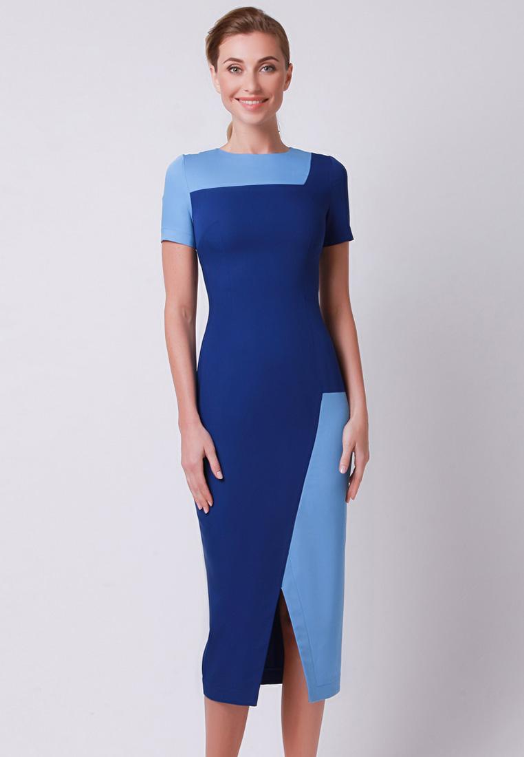 Повседневное платье Olga Skazkina 170423_темно-синий+синий_40