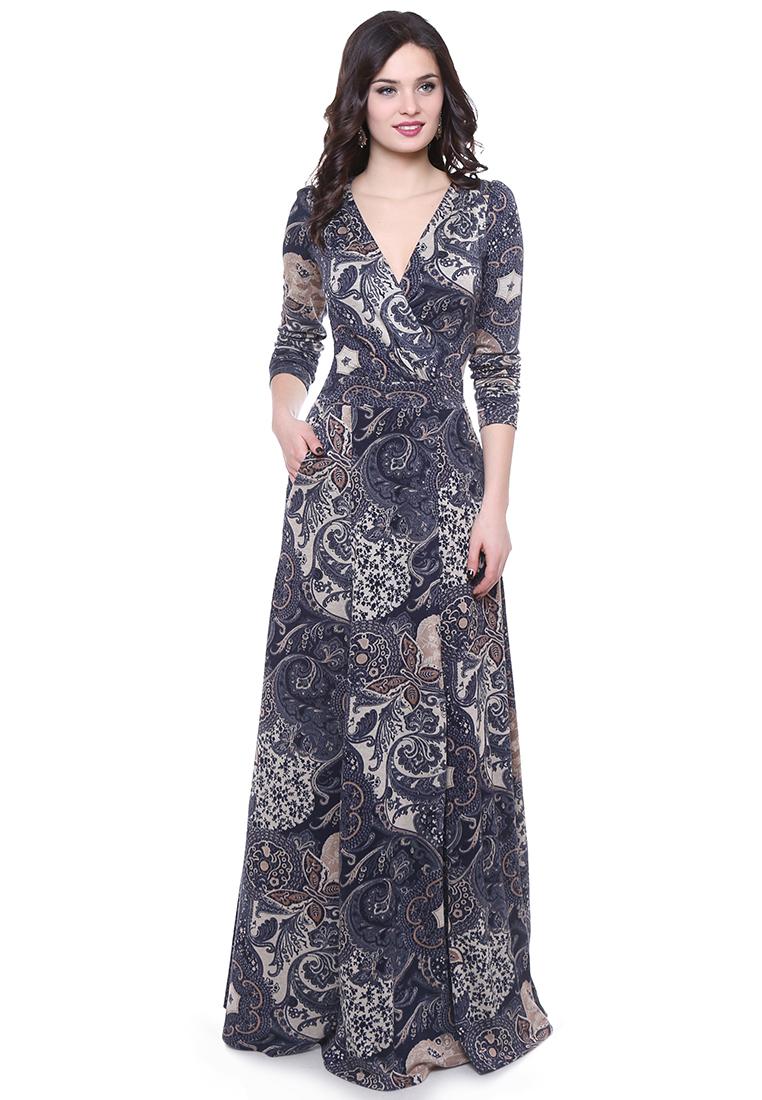 Вязаное платье Grey Cat GPl00112V(talany) сине-песочный 42