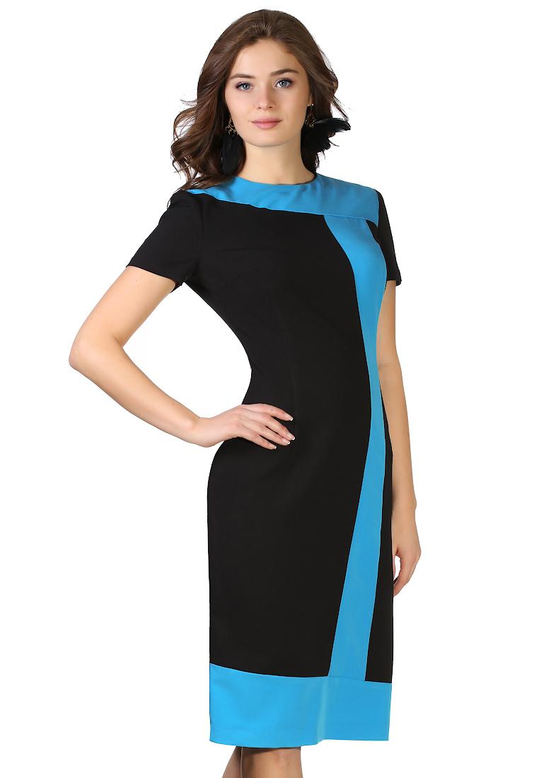 Вязаное платье Grey Cat GPl00034V(tuluza) черно-голубой 42