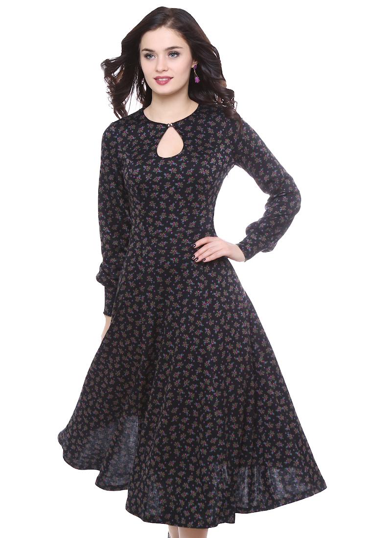 Вязаное платье Grey Cat GPl00111V(onika) цветочек на черном 42