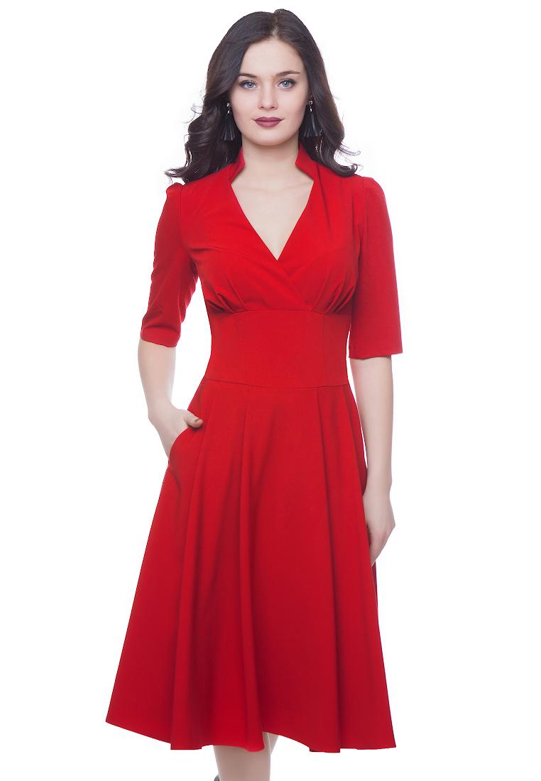 Вечернее / коктейльное платье Grey Cat GPl00139V(flury) красный 42