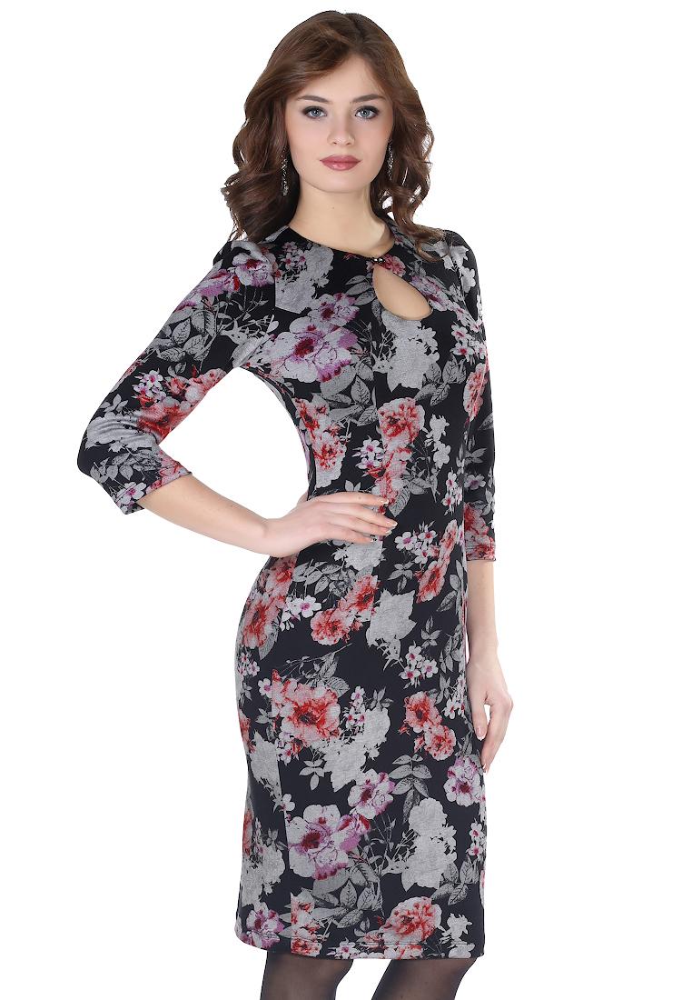 Вязаное платье Grey Cat GPl00060V(elva) черно-красный 42