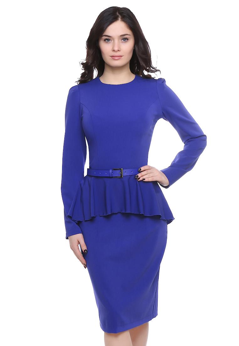 Деловое платье Grey Cat GPl00098V(beysy) синий 42