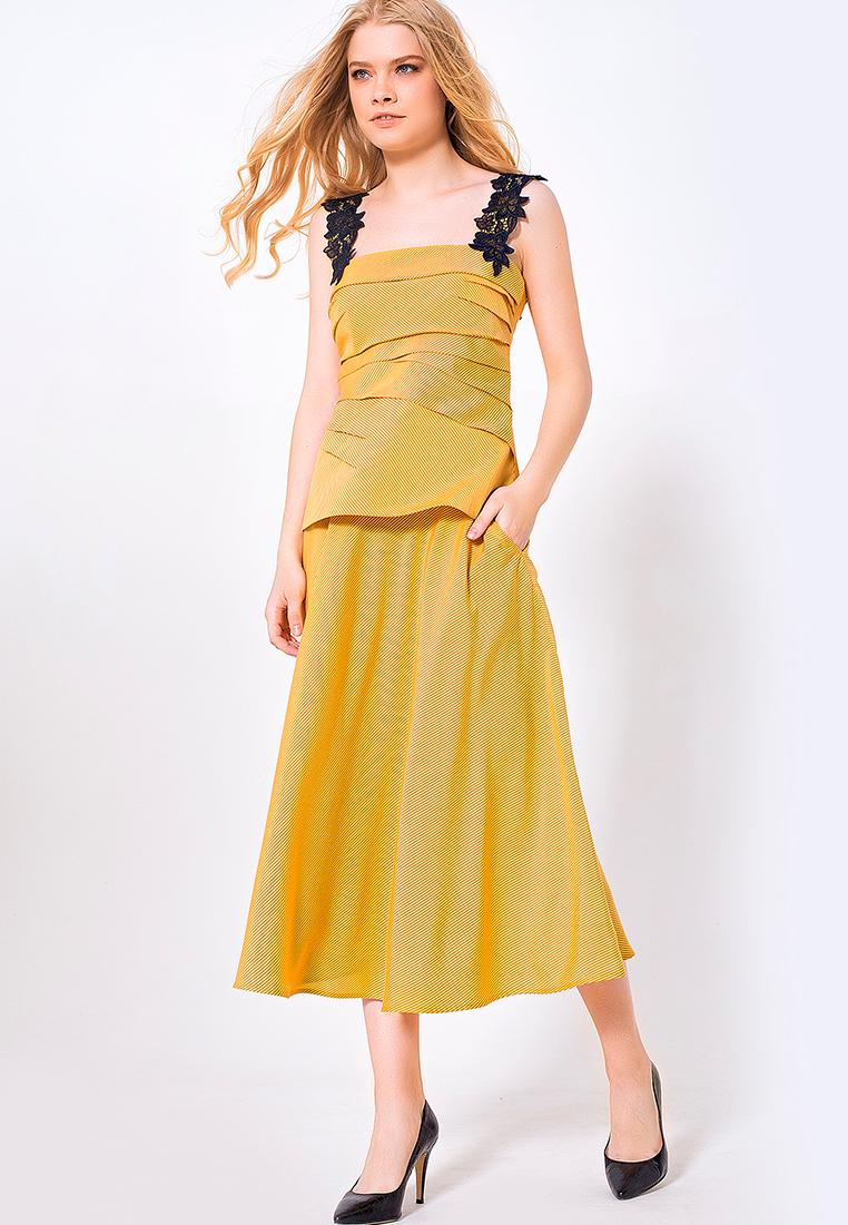 Широкая юбка LO 17172005/горчичный/40
