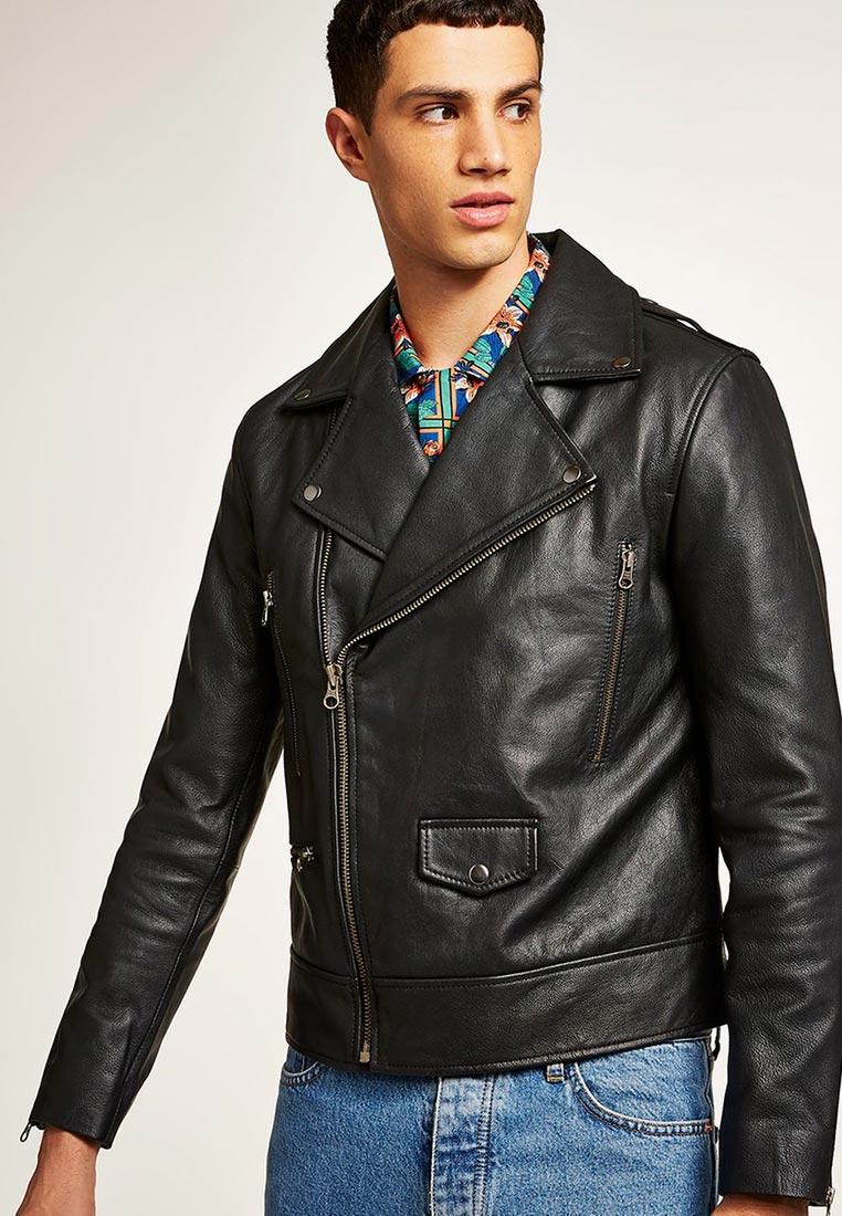Кожаная куртка Topman (Топмэн) 64L00QBLK