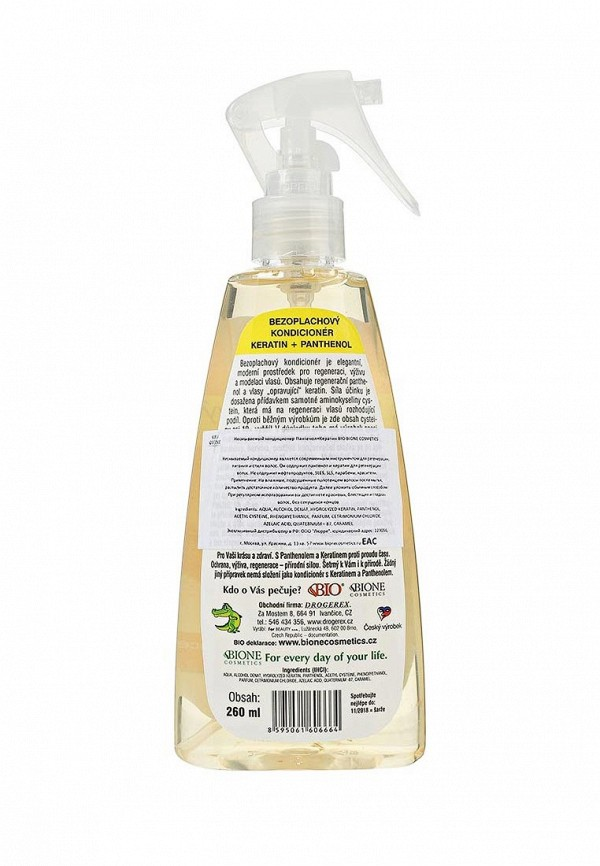 Кондиционер для волос Bione Cosmetics Несмываемый для волос Пантенол + Кератин