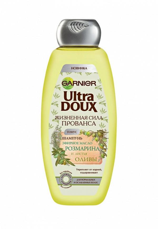 Шампунь Garnier Ultra Doux, Жизненная сила Прованса, Эфирное масло розмарина и листья оливы, для нормальных и ослабленных волос, 400 мл